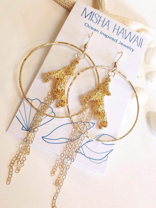《MISHA HAWAII》Cast Coral Hoops Earrings []