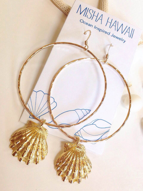 《MISHA HAWAII》Sunrise Shell Hoop Earrings []